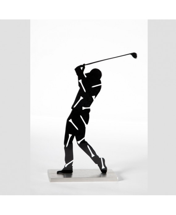 Black Painted And Varnished Stainless Steel Golf Player With White Tees